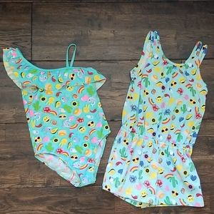 Girls Emoji Swimsuit and Coverup Size 5/6